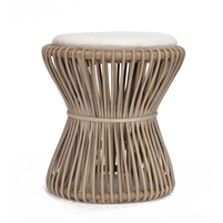 natural rattan hourglass-shaped stool off-white cushion