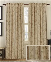 Creative Threads curtains panels drapery linen embroidery floral vines wheat tan natural