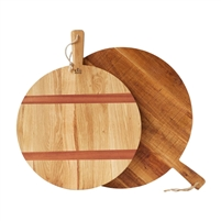 natural oak charcuterie board round wood