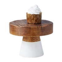 natural white wood small cake stand round