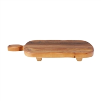 natural wood rectangle footed serve board