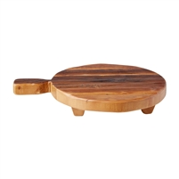 natural wood round footed serve board