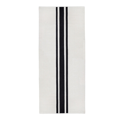 long rectangle area runner rug hand woven ivory black stripe