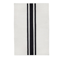 rectangle area rug hand woven ivory black stripe