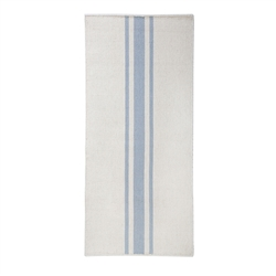 long rectangle area floor runner rug hand woven ivory light blue stripes
