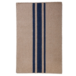 rectangle area rug handwoven natural navy blue stripe