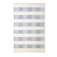 rectangle area rug hand woven ivory nordic light blue stripe wool