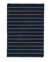 navy blue off-white stripe area rug fringe