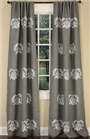 Luxury Designer Curtain Panel - Medallion Embroidery - Gray Burlap