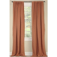 "Emdee International drapery curtain panel window treatment cotton boucle texture woven lined 3"" rod pocket hidden tabs ready-made orange coral"