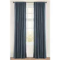 "Emdee International drapery curtain panel window treatment cotton boucle texture woven lined 3"" rod pocket hidden tabs ready-made ocean blue"
