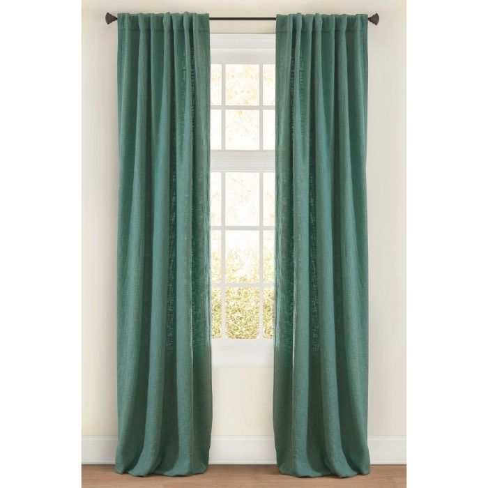 Boucle Ready Made Curtain Panel Mineral Sea Green Cotton Drapery