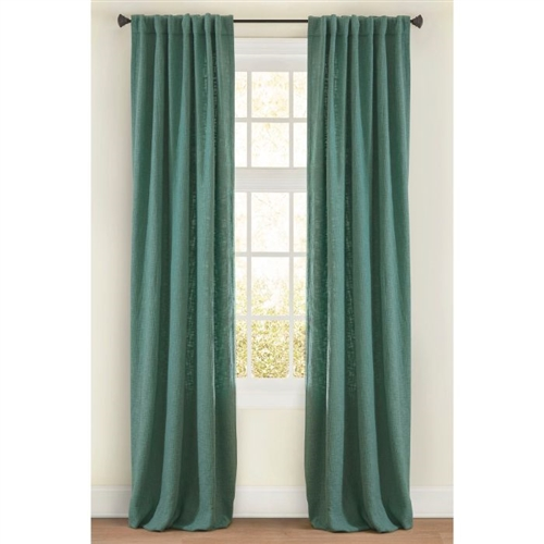 "Emdee International drapery curtain panel window treatment cotton boucle texture woven lined 3"" rod pocket hidden tabs ready-made sea green"