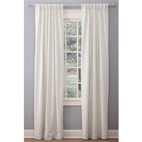 "Emdee International drapery curtain panel window treatment cotton boucle texture woven lined 3"" rod pocket hidden tabs ready-made white"