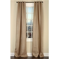 Emdee International drapery curtain panel window treatment burlap natural gold metallic grommets lined