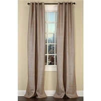 Emdee International drapery curtain panel window treatment burlap natural silver metallic grommets lined