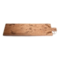 natural wood plank serve board handle