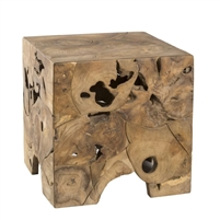 teak root end table cube square