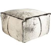 Hide Stitched Leather Pouf
