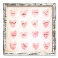 framed shelf art candy hearts