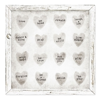 neutral framed shelf art candy hearts
