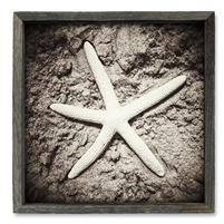 framed shelf art wood reclaimed square coastal beach starfish sand
