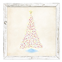 colorful tree hearts christmas shelf art