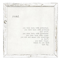 Unique Inspirational Art for Desk or Shelf: Rumi Quote: You Were Born