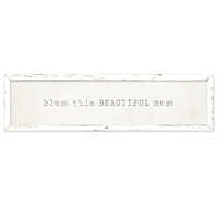 long framed wood white gray distressed wall art bless this beautiful mess