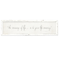 wide framed wood white gray distressed wall the meaning of life V. Frankl