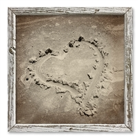 framed shelf art heart in sand