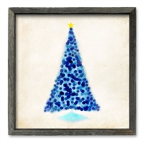 blue christmas tree framed shelf art