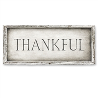 gray white recycled wood frame THANKFUL shelf art