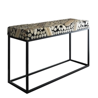 black and off-white console table, contemporary teak console table, teak console table