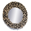 black tan teak branches round large wall mirror