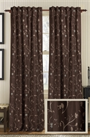 Creative Threads curtains panels drapery linen embroidery floral vines espresso ivory natural woodsmoke brown ivory natural gray