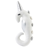 white seahorse stuffed animal silver accents