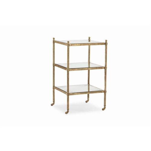 3-tier end table antiqued mirror brass casters