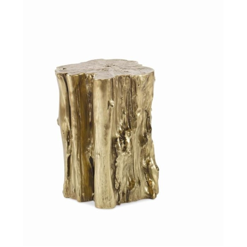 brass tree log side table