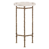 accent table aged patina bronze acrylic top