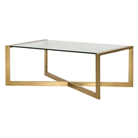 bronze finish metal cocktail table tempered glass