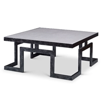 black geometric wrought iron base cocktail table