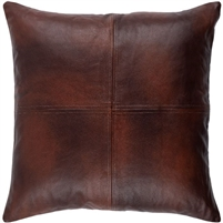square dark brown leather accent pillow