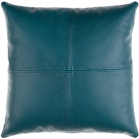 square teal leather accent pillow