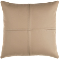 square khaki leather accent pillow