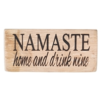 rustic wood wine barrel shelf art NAMASTE