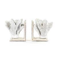 White Sea Coral Bookends - Office + Media Décor