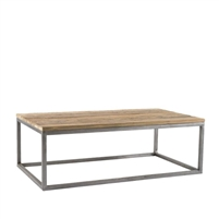 salamanca recycled teak coffee table iron rectangle open frame iron