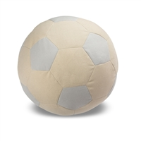 Child's Pouf  Soccer Ball  Silver Canvas