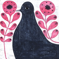 Black Bird in Flowers Art Print